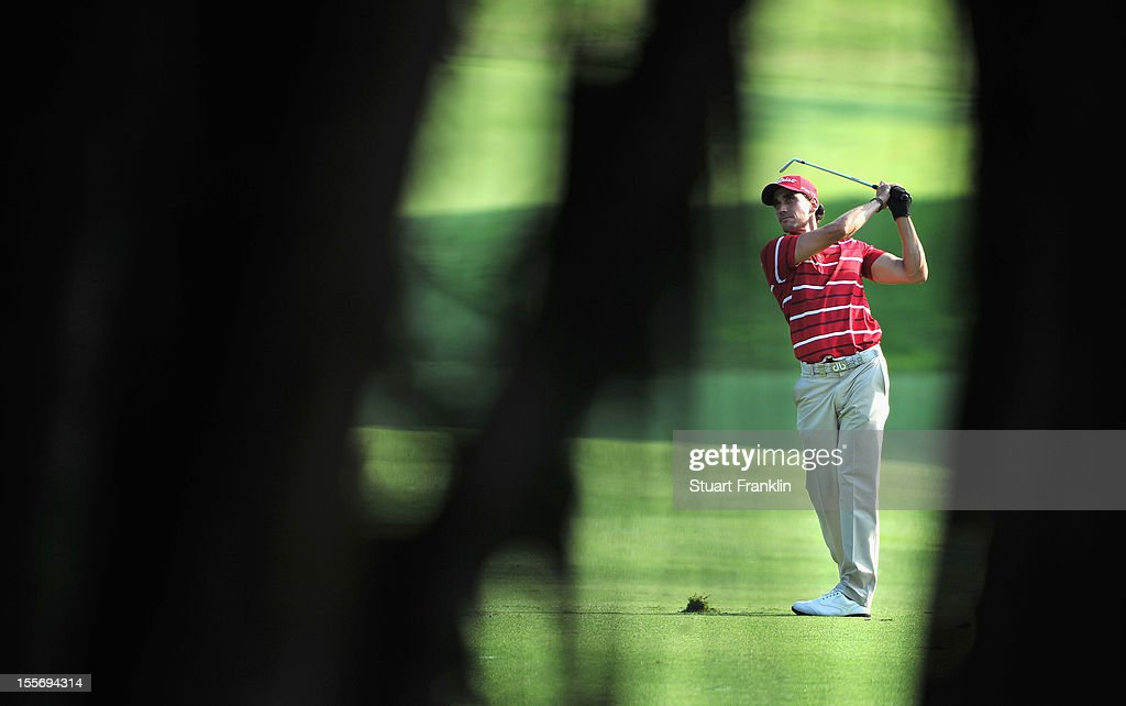 Rafael Cabrera Bello of Spain plays a shot during the pro - am prior to the start of the Barclays Singapore Open at the Sentosa Golf Club on November 7, 2012 in Singapore.