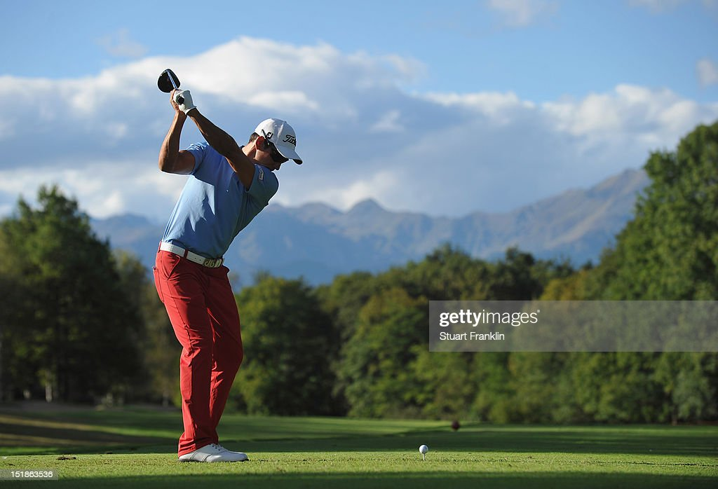 Rafael Cabrera Bello of Spain plays a shot during the proam prior to the start of the BMW Italian open at Royal Park Golf Country Club on September...