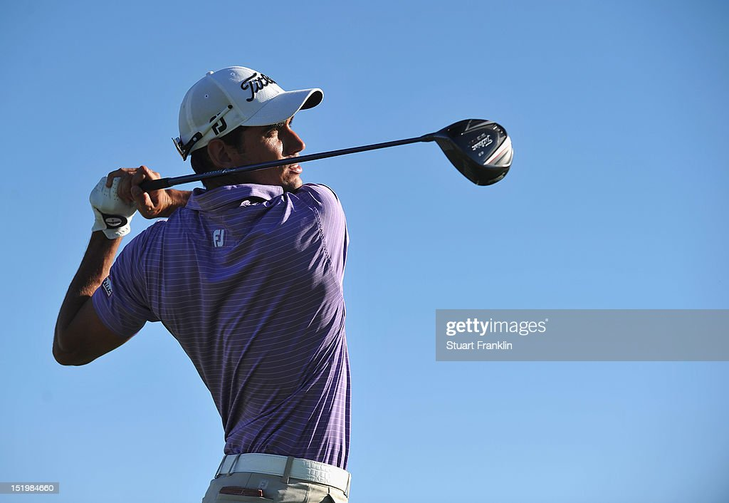 Rafael Cabrera Bello of Spain plays a shot during the second round of the BMW Italian open at Royal Park Golf & Country Club on September 14, 2012 in Turin, Italy.