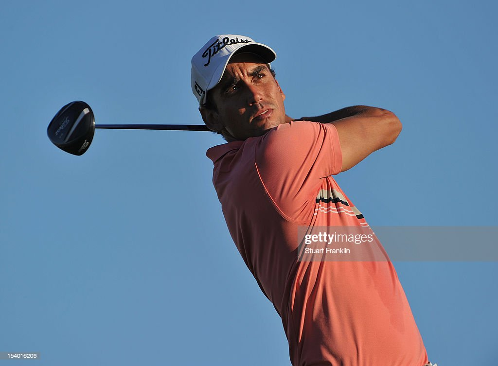 Rafael Cabrera Bello of Spain plays a shot during the second round of the Portugal Masters at the Victoria golf course at Villamoura on October 12, 2012 in Faro, Portugal