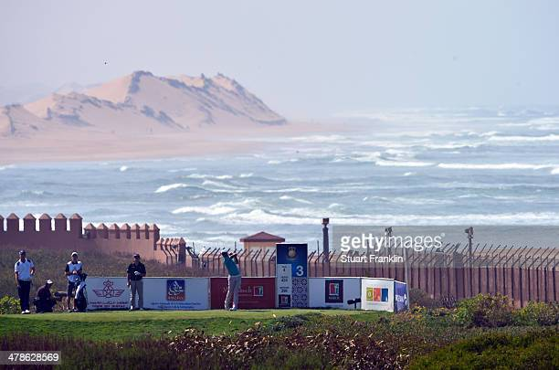 Rafael Cabrera Bello of Spain plays a shot during the second round of the Trophee Hassan II Golf at Golf du Palais Royal on March 14 2014 in Agadir...