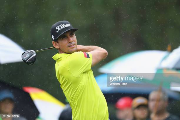 Rafael Cabrera Bello of Spain plays his shot during a practice round prior to the 2017 PGA Championship at Quail Hollow Club on August 8 2017 in...