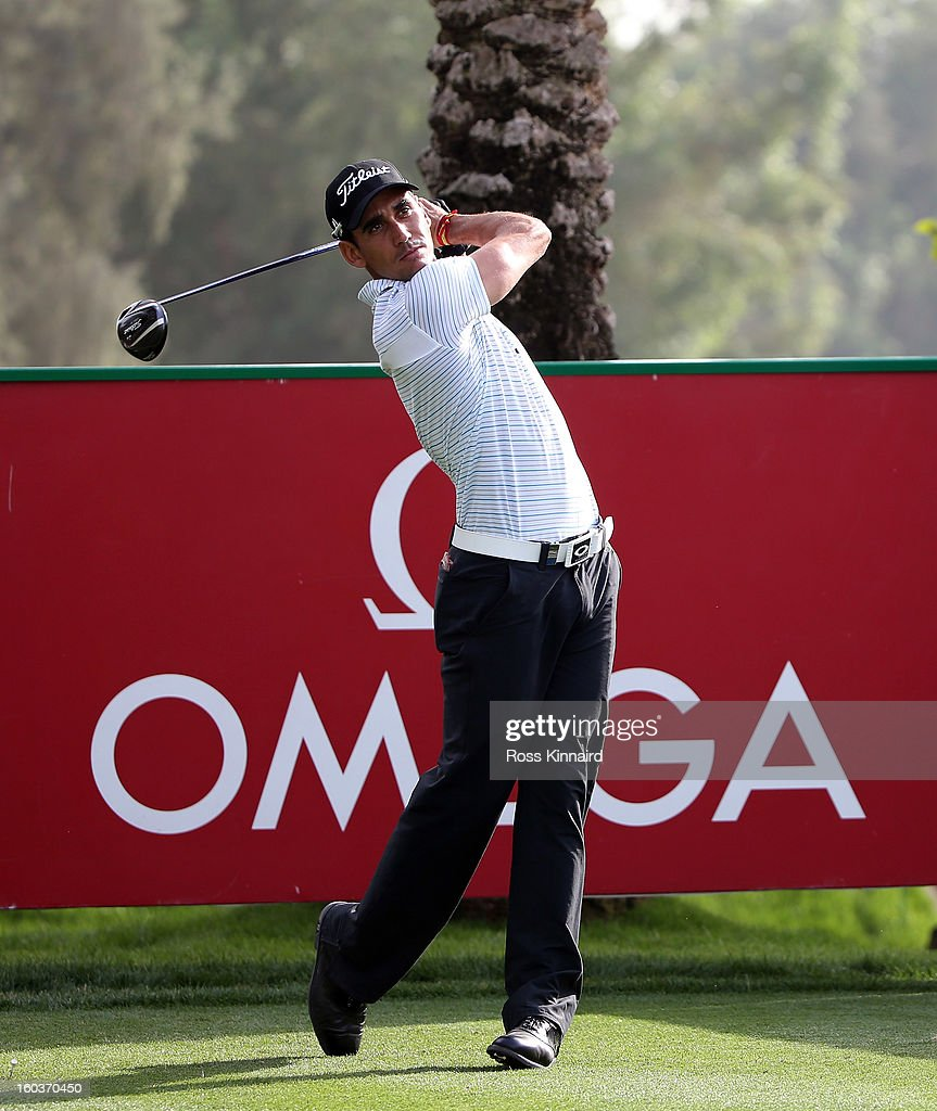 <a gi-track='captionPersonalityLinkClicked' href=/galleries/search?phrase=Rafael+Cabrera-Bello&family=editorial&specificpeople=2747808 ng-click='$event.stopPropagation()'>Rafael Cabrera-Bello</a> of Spain during the pro-am event prior to the Omega Dubai Desert Classic on January 30, 2013 in Dubai, United Arab Emirates.