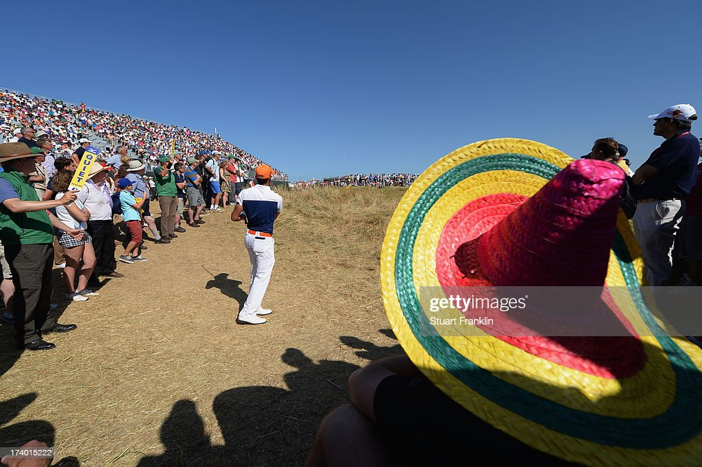 Rafael CabreraBello of Spain plays a chip shot during the second round of the 142nd Open Championship at Muirfield on July 19 2013 in Gullane Scotland