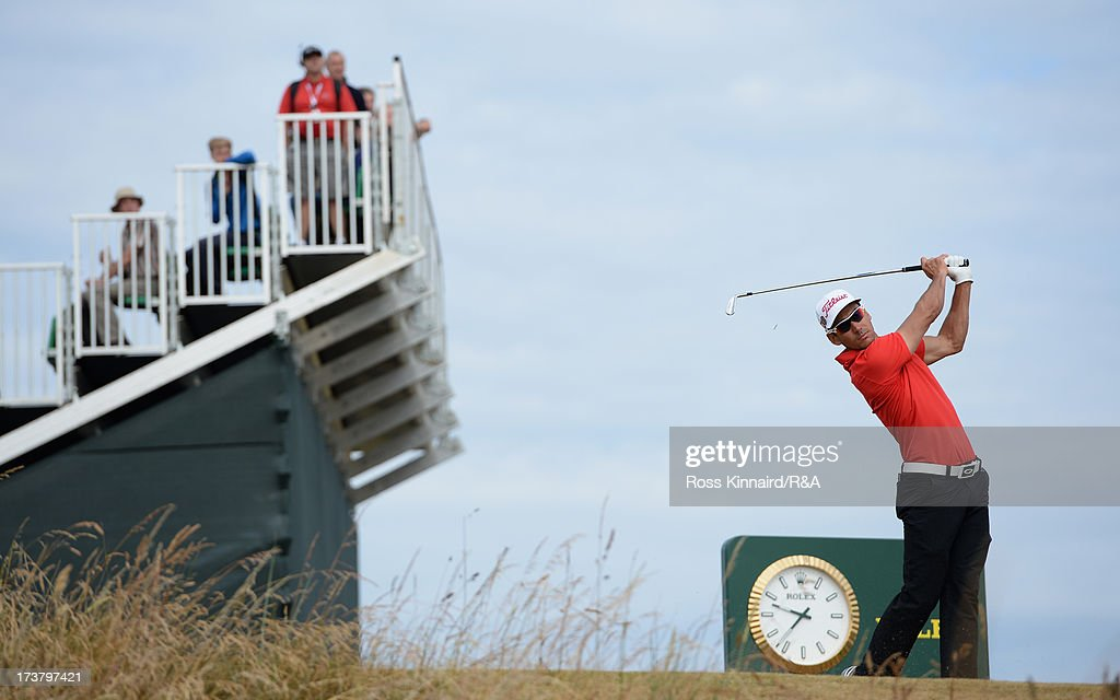 <a gi-track='captionPersonalityLinkClicked' href=/galleries/search?phrase=Rafael+Cabrera-Bello&family=editorial&specificpeople=2747808 ng-click='$event.stopPropagation()'>Rafael Cabrera-Bello</a> of Spain tees off on the 8th hole during the first round of the 142nd Open Championship at Muirfield on July 18, 2013 in Gullane, Scotland.