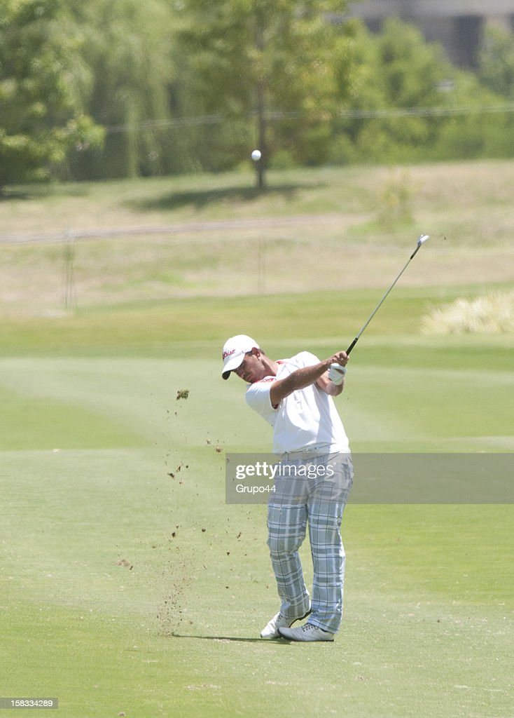 Rafael Campos plays a shot during the opening day of the 107 Visa Golf Open presented by Peugeot as part of the PGA Latin America at Nordelta Golf Club on December 13, 2012 in Buenos Aires, Argentina.