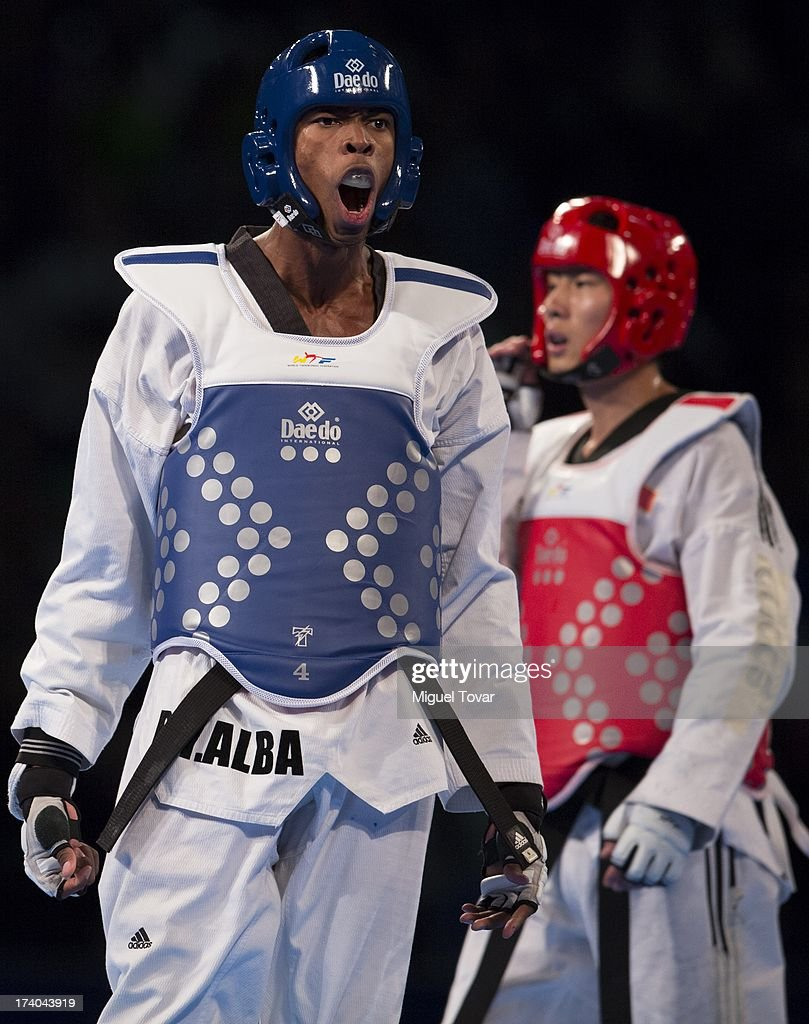 Rafael Castillo of Cuba celebrates after winning the gold medal against Mao Zhao Yong of China during the men's -87 kg final combat of WTF World Taekwondo Championships 2013 at the exhibitions Center on July 19, 2013 in Puebla, Mexico.
