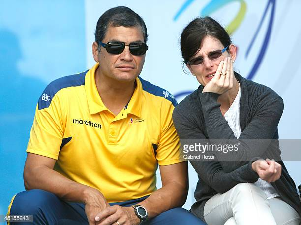 Rafael Correa President of Ecuador and his wife Anne Malherbe attend to see their daughter Sofia Correa participate in the opening day of Sport...