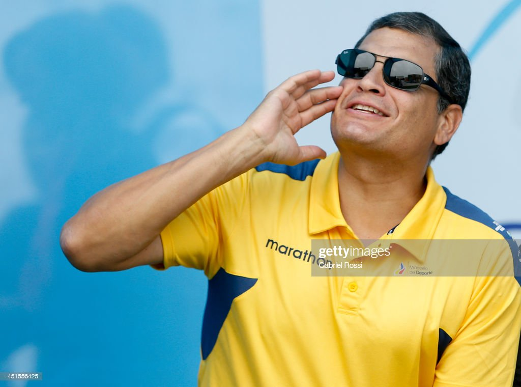 Rafael Correa, President of Ecuador, attends to see his daughter Sofia Correa participate in the opening day of Sport Climbing as part of XVII Bolivarian Games Trujillo 2013 at Villa Deportiva Regional del Callao on November 23, 2013 in Lima, Peru.