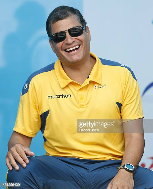 Rafael Correa President of Ecuador attends to see his daughter Sofia Correa participate in the opening day of Sport Climbing as part of XVII...