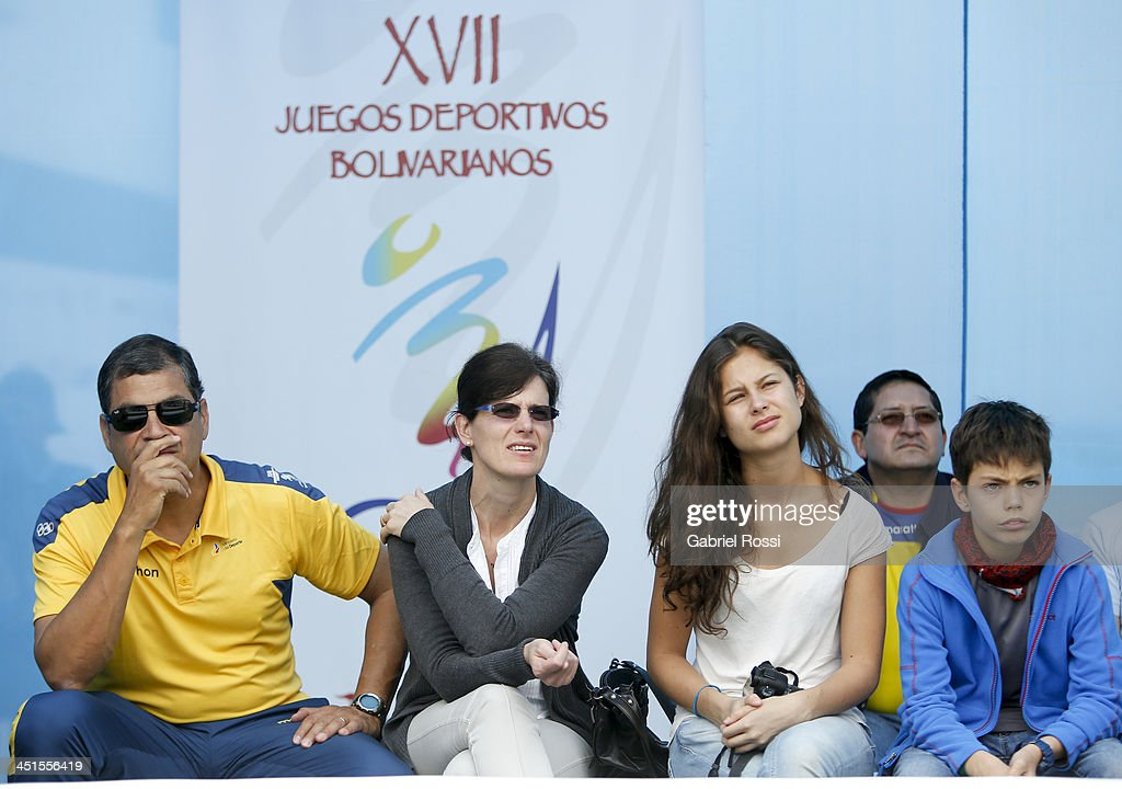 Rafael Correa, President of Ecuador, his wife Anne Malherbe, his daughter Anne Correa and his son Rafael Correa attend to see his daughter Sofia Correa participate in the opening day of Sport Climbing as part of XVII Bolivarian Games Trujillo 2013 at Villa Deportiva Regional del Callao on November 23, 2013 in Lima, Peru.