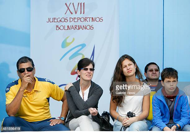 Rafael Correa President of Ecuador his wife Anne Malherbe his daughter Anne Correa and his son Rafael Correa attend to see his daughter Sofia Correa...