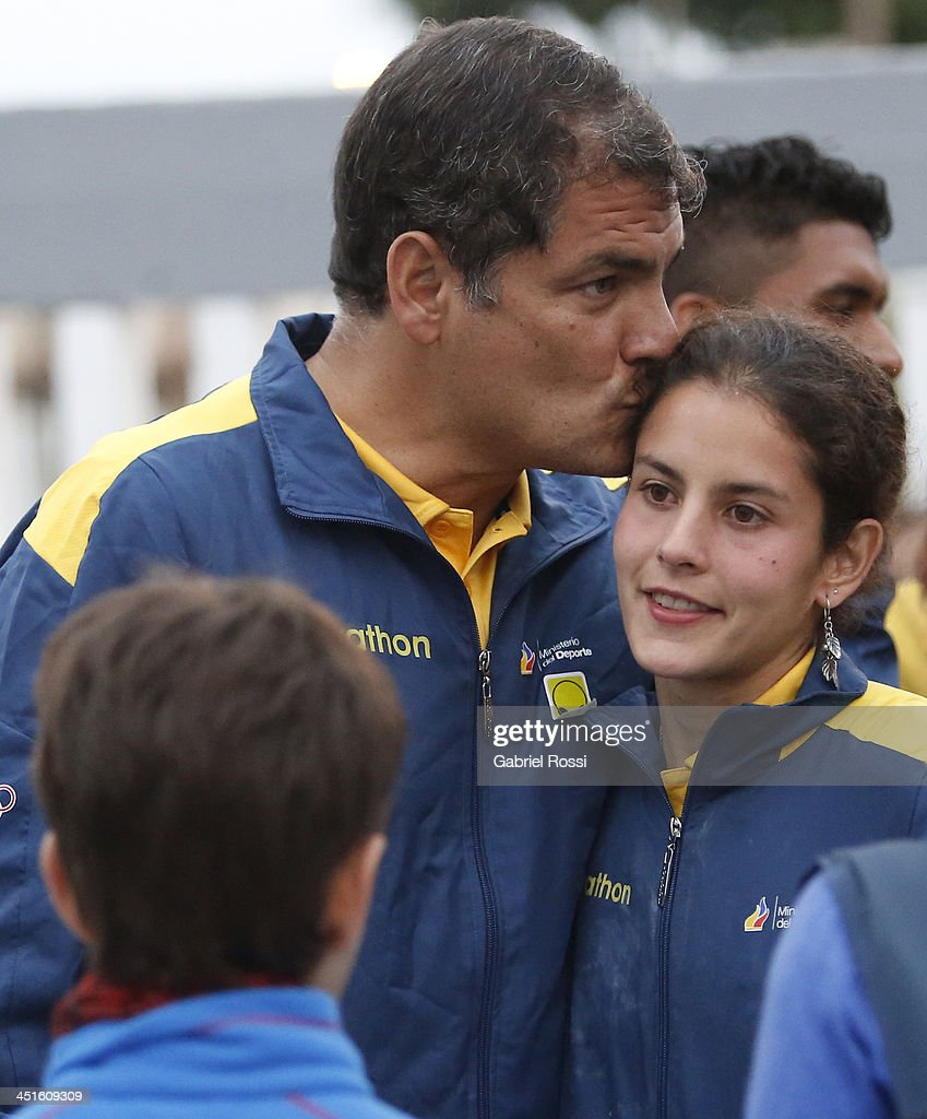 <a gi-track='captionPersonalityLinkClicked' href=/galleries/search?phrase=Rafael+Correa&family=editorial&specificpeople=2294079 ng-click='$event.stopPropagation()'>Rafael Correa</a>, president of Ecuador kisses his daughter Sofia Correa after she won the bronze medal in the opening day of Sport Climbing as part of XVII Bolivarian Games Trujillo 2013 at Villa Deportiva Regional del Callao on November 23, 2013 in Lima, Peru.