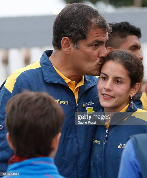 Rafael Correa president of Ecuador kisses his daughter Sofia Correa after she won the bronze medal in the opening day of Sport Climbing as part of...