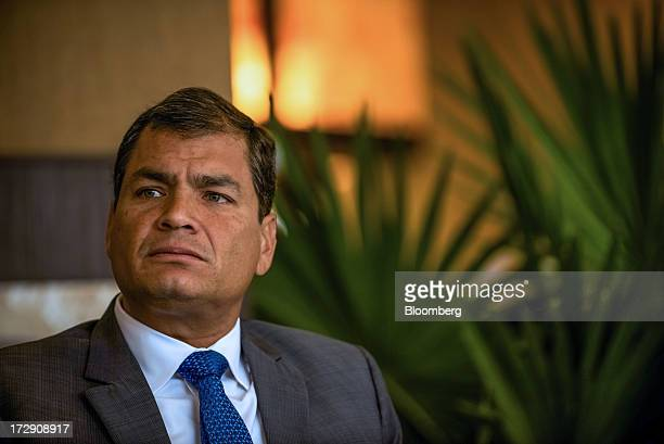 Rafael Correa president of Ecuador listens during an interview in Portoviejo Ecuador on Saturday June 29 2013 Ecuador the South American nation...