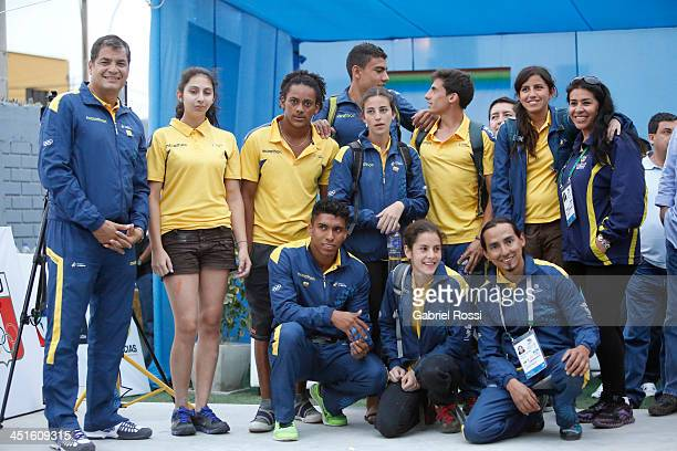 Rafael Correa president of Ecuador poses with the Ecuadorean team in the opening day of Sport Climbing as part of the XVII Bolivarian Games Trujillo...