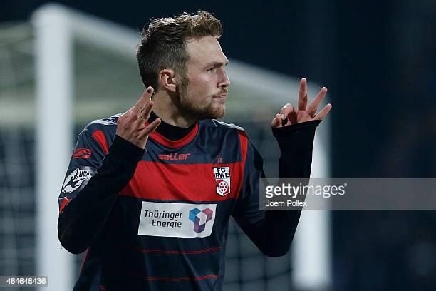 Rafael Czichos of Erfurt celebrates after scoring his team's first goal during the Third League match between Holstein Kiel and RW Erfurt at...