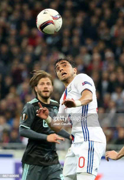 Rafael da Silva of Lyon and Lasse Schoene of Ajax Amsterdam during the UEFA Europa League semi final second leg match between Olympique Lyonnais and...