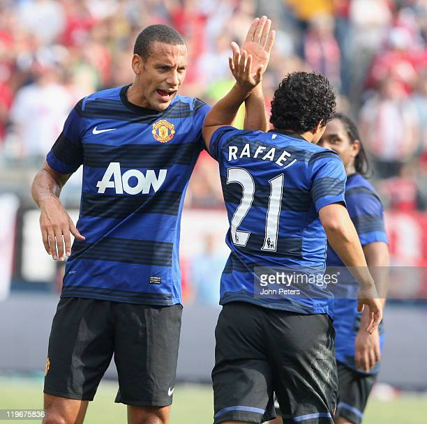 Rafael Da Silva of Manchester United celebrates scoring their second goal during the preseason friendly match between Chicago Fire and Manchester...
