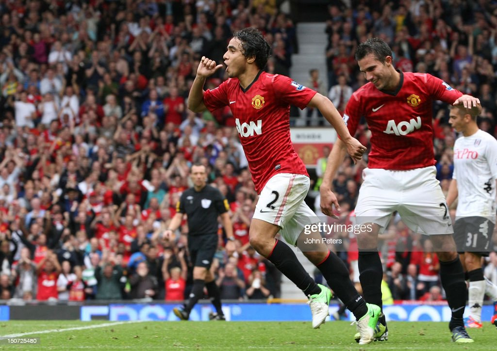 Rafael Da Silva of Manchester United celebrates scoring their third goal during the Barclays Premier League match between Manchester United and...
