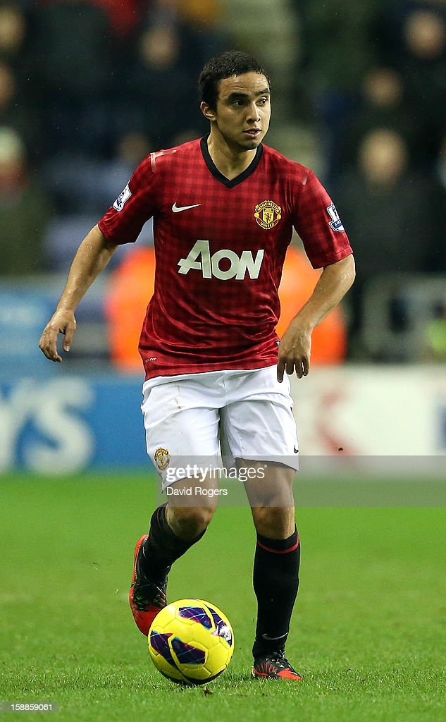 Rafael Da Silva of Manchester United controls the ball during the Barclays Premier League match between Wigan Athletic and Manchester United at the DW Stadium on January 1, 2013 in Wigan, England.