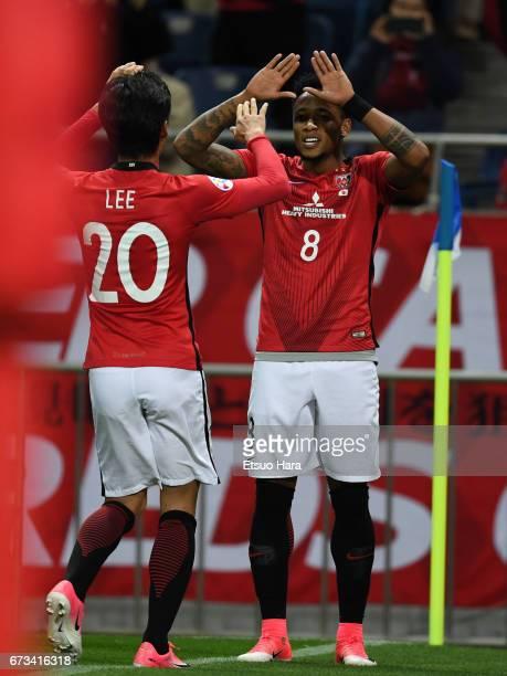 Rafael da Silva of Urawa Red Diamonds celebrates scoring his team's fifth goal during the AFC Champions League Group F match between Urawa Red...