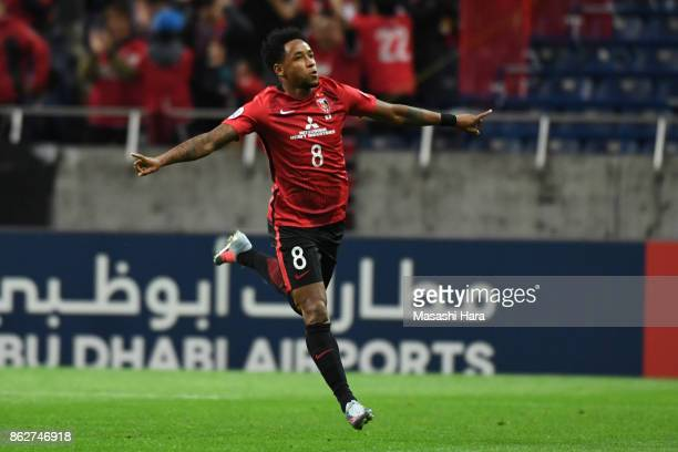 Rafael Da Silva of Urawa Red Diamonds celebrates the first goal during the AFC Champions League semi final second leg match between Urawa Red...
