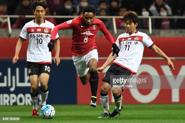 Rafael Da Silva of Urawa Red Diamonds in action during the AFC Champions League match Group F match between Urawa Red Diamonds and FC Seoul at...