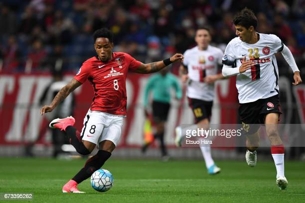 Rafael da Silva of Urawa Red Diamonds in action during the AFC Champions League Group F match between Urawa Red Diamonds and Western Sydney at...