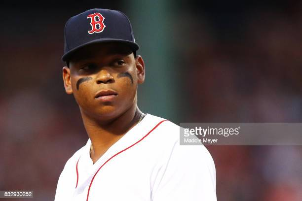 Rafael Devers of the Boston Red Sox look son during the second inning at Fenway Park on August 16 2017 in Boston Massachusetts