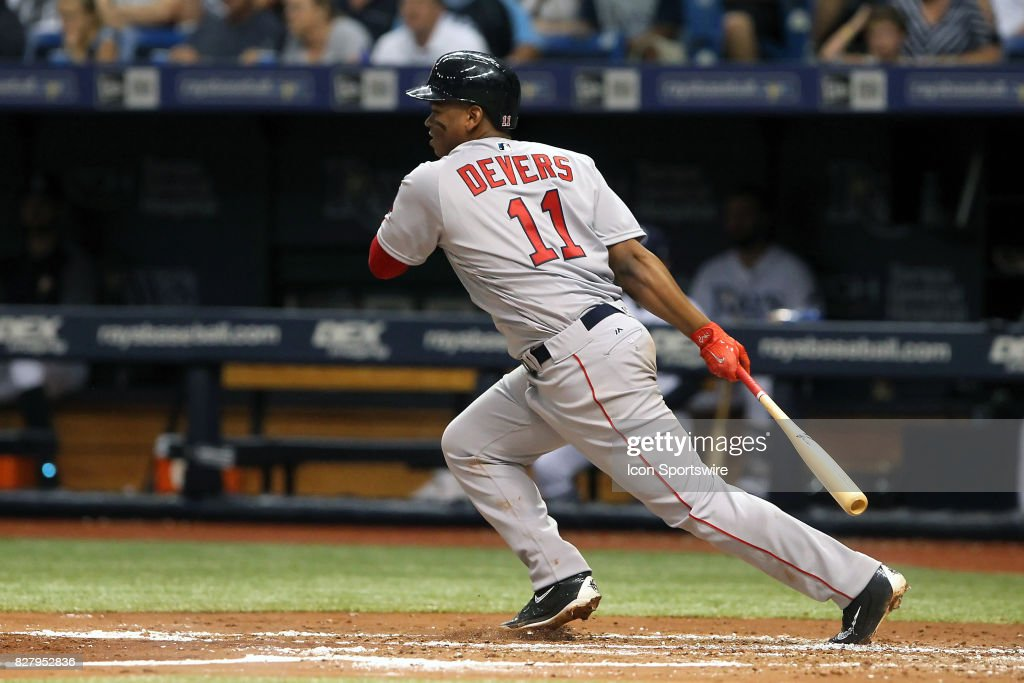 Rafael Devers (11) of the Red Sox at bat during the MLB regular season game between the Boston Red Sox and Tampa Bay Rays on August 8, 2017, at Tropicana Field in St. Petersburg, FL.
