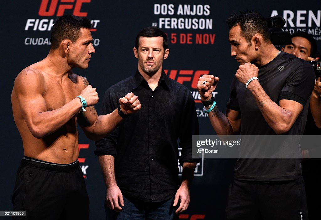 Rafael dos Anjos of Brazil and Tony Ferguson of the United States face off during the UFC weigh-in at the Arena Ciudad de Mexico on November 4, 2016 in Mexico City, Mexico.