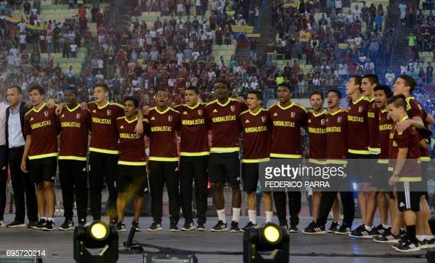 Rafael Dudamel coach of the Venezuelan Under20 national team runnerup at the U20 World Cup in South Korea and the players listen to their national...