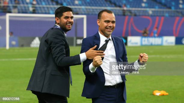 Rafael Dudamel the coach of Venezuela celebrates after the FIFA U20 World Cup Korea Republic 2017 Round of 16 match between Venezuela and Japan at...