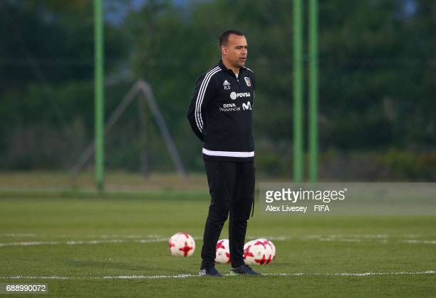 Rafael Dudamel the coach of Venezuela looks on during a training session at the Deokam Football Centre during the FIFA U20 World Cup on May 27 2017...
