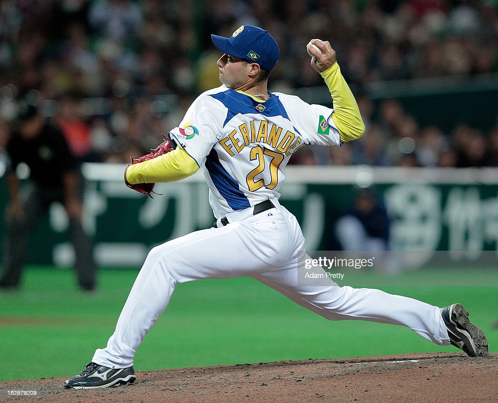 Rafael Fernandes of Brazil pitches during the World Baseball Classic First Round Group A game between Brazil and Japan at Fukuoka Yahoo! Japan Dome on March 2, 2013 in Fukuoka, Japan.