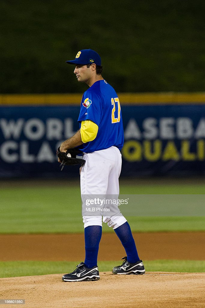 Rafael Fernandes #27 of Team Brazil pitches during Game 6 of the Qualifying Round of the World Baseball Classic against Team Panama at Rod Carew National Stadium on Monday, November 19, 2012 in Panama City, Panama.