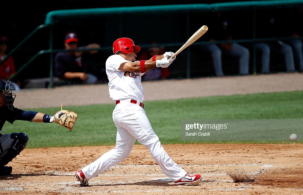<a gi-track='captionPersonalityLinkClicked' href=/galleries/search?phrase=Rafael+Furcal&family=editorial&specificpeople=203211 ng-click='$event.stopPropagation()'>Rafael Furcal</a> #15 of the St. Louis Cardinals bats during a game against the Minnesota Twins at Roger Dean Stadium on March 25, 2012 in Jupiter, Florida. The St. Louis Cardinals defeated the Minnesota Twins 9-2.