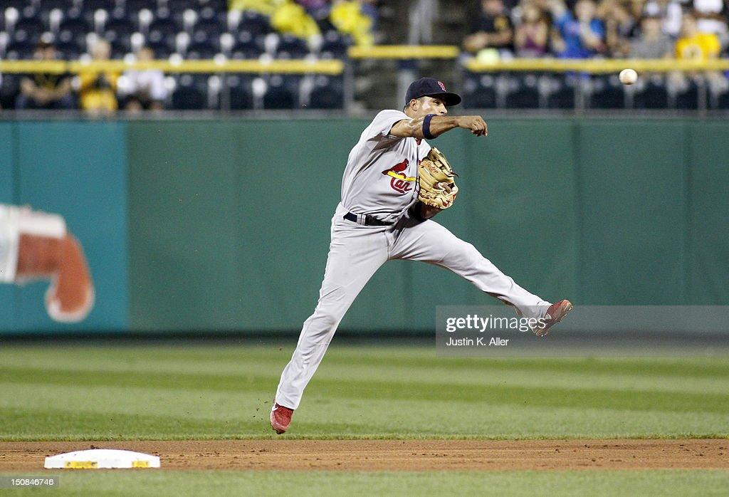 <a gi-track='captionPersonalityLinkClicked' href=/galleries/search?phrase=Rafael+Furcal&family=editorial&specificpeople=203211 ng-click='$event.stopPropagation()'>Rafael Furcal</a> #15 of the St. Louis Cardinals makes a throw to first base against the Pittsburgh Pirates during the game on August 27, 2012 at PNC Park in Pittsburgh, Pennsylvania. The Cardinals defeated the Pirates 4-3.