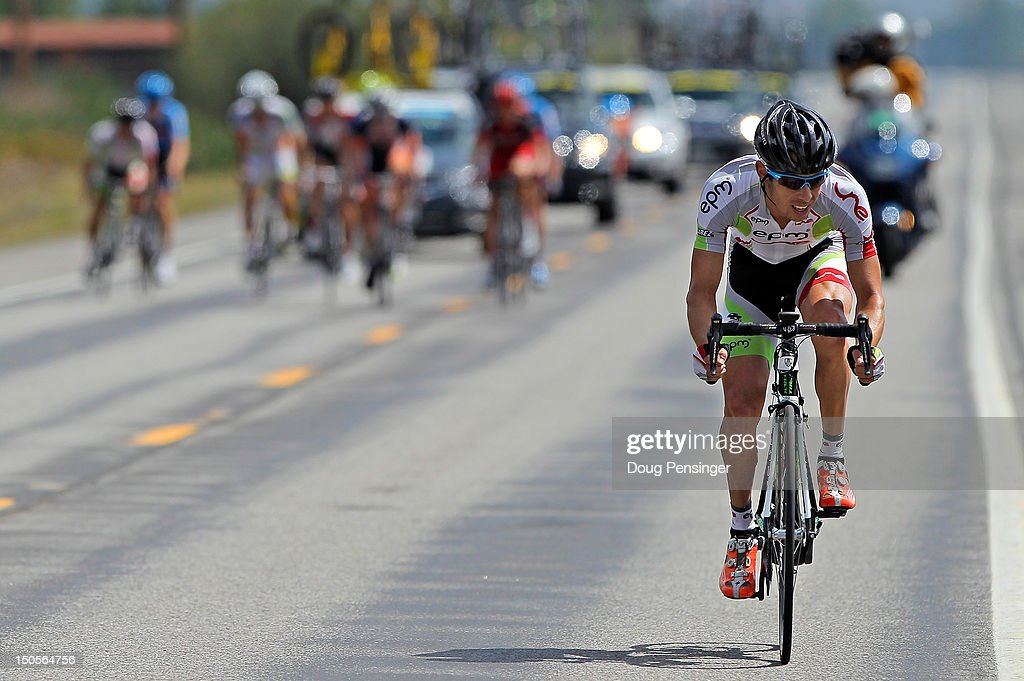 Rafael Infantino Abreu of Columbia riding for EPM-Une attacks the breakaway with less than 10 kilometers to go in stage two of the USA Pro Challenge from Montrose to Crested Butte on August 21, 2012 in Crested Butte, Colorado.