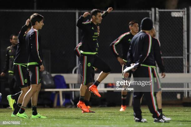 Rafael Marquez and teammates exercise during a training session at Peter Johann Memorial Field on February 06 2017 in Las Vegas United States
