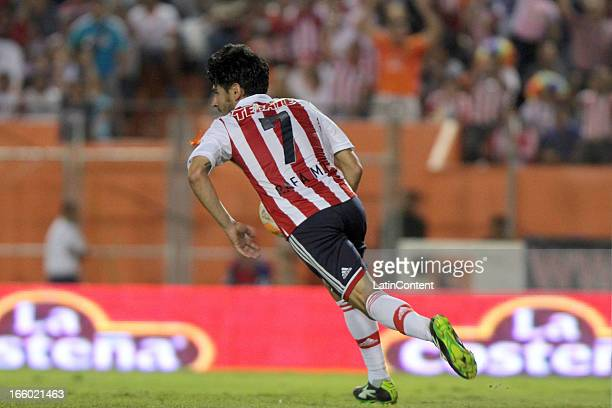 Rafael Marquez celebrates after scoring during a match between Jaguares and Chivas as part of the Clausura 2013 at Victor Manuel Reyna Stadium on...