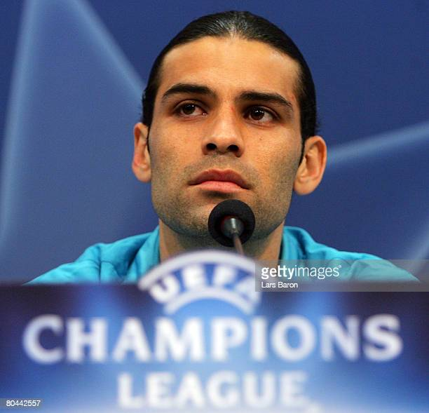 Rafael Marquez looks on during a FC Barcelona press conference ahead of their UEFA Champions League match against FC Schalke 04 tomorrow night held...