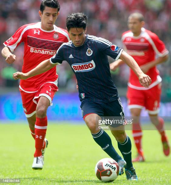Rafael Marquez Lugo of Chivas in action during a match between Toluca and Chivas as part of the Apertura 2012 Liga Mx at Nemesio Diez Stadium on July...