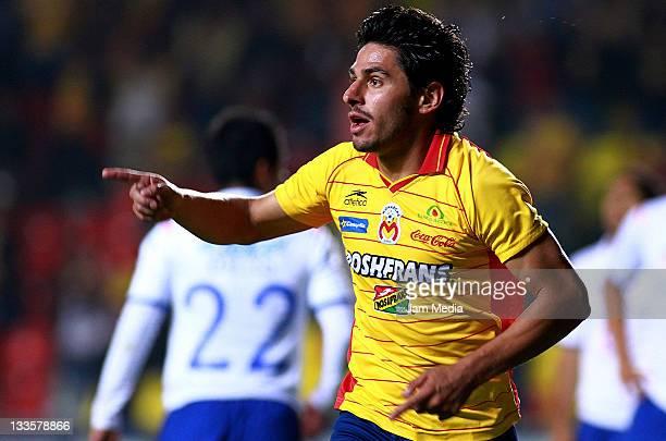 Rafael Marquez Lugo of Morelia celebrates a scored goal against Cruz Azul during a quarter final match betwen Morelia against Cruz Azul as part of...