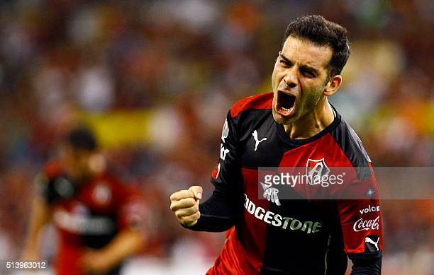 Rafael Marquez of Atlas celebrates after score against Santos during their Mexican Clausura 2016 tournament football match at Jalisco stadium on 05...