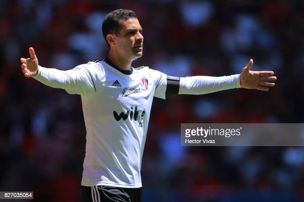 Rafael Marquez of Atlas reacts during the third round match between Toluca and Atlas as part of the Torneo Apertura 2017 Liga MX at Nemesio Diez...