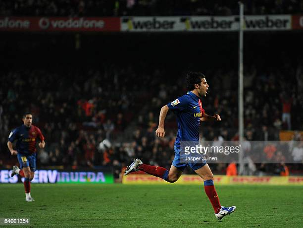 Rafael Marquez of Barcelona celebrates scoring his sides second goal during the Copa del Rey semi final first leg match between Barcelona and...