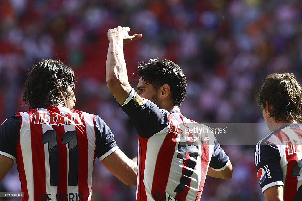 Rafael Marquez of Chivas celebrates his goal during a match between Chivas and Puebla as part of the Torneo Apertura Liga MX at the Omnilife Stadium on August 18, 2013 in Guadalajara, Mexico.
