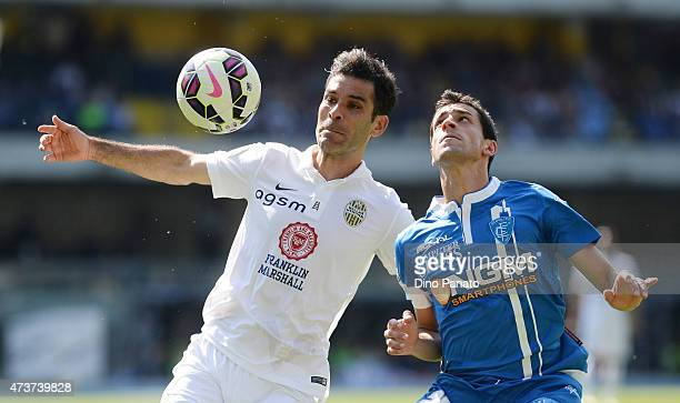 Rafael Marquez of Hellas Verona competes with Manuel Pucciarelli of Empoli FC during the Serie A match between Hellas Verona FC and Empoli FC at...